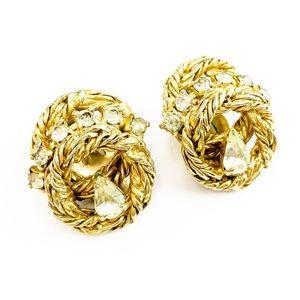 Vintage Volupte Gold Tone Clip On Earrings